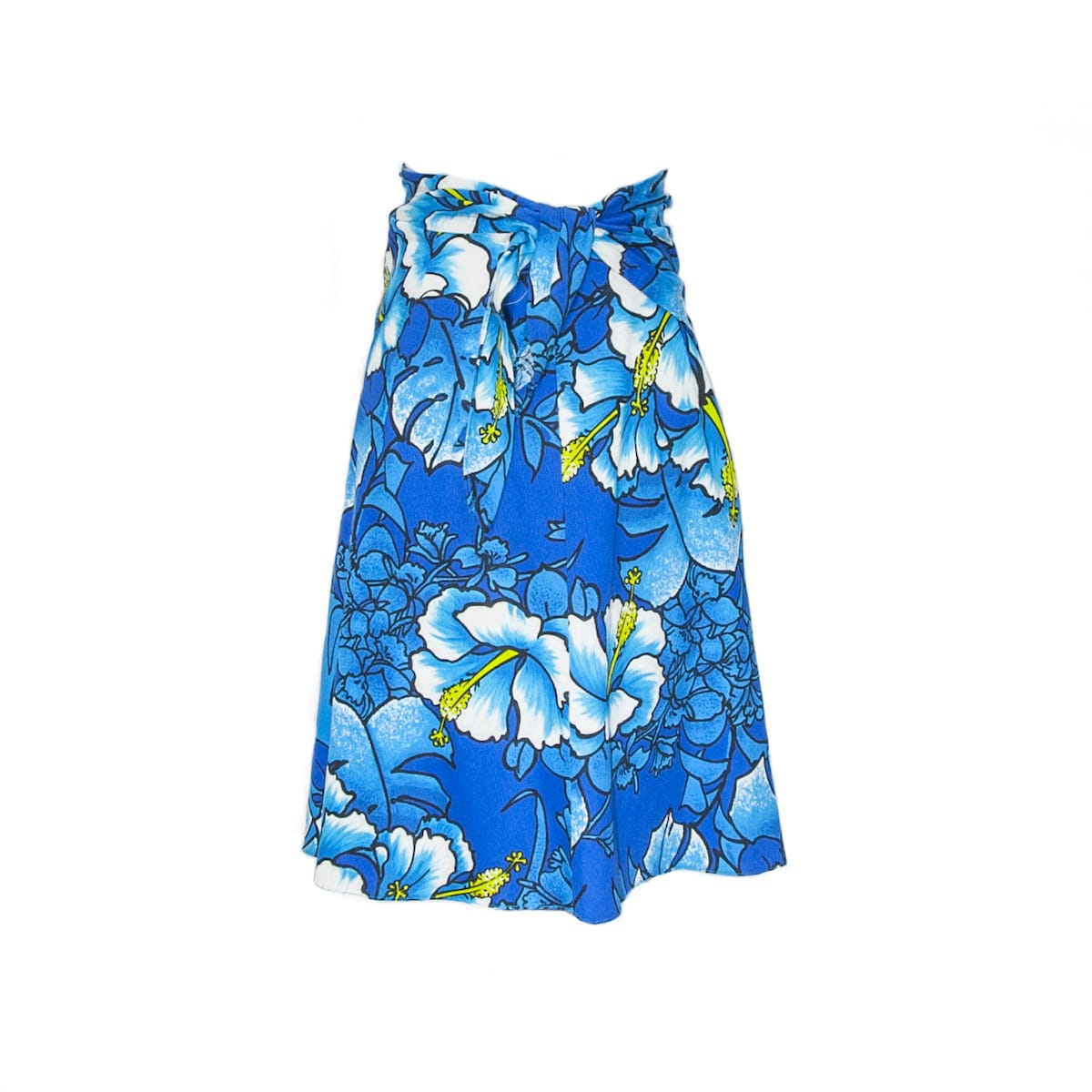 1960s blue flower print hawaiian style wrap skirt - basement