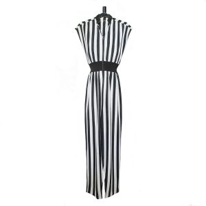 1970s Black and White Striped Jumpsuit