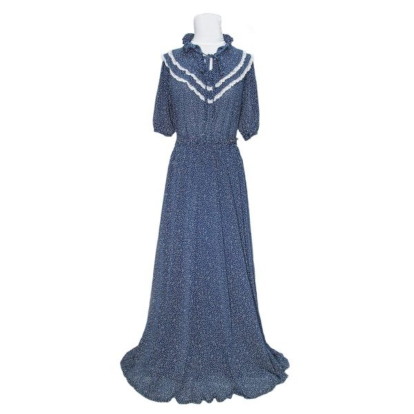 1970s Navy and White Polka Dot Maxi Dress With Lace Trim