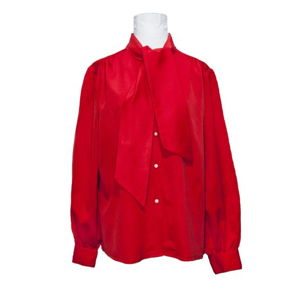 1970s/1980s Red Satin-style Pussybow Shirt