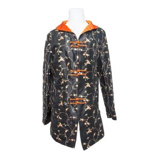 1990s Black and Orange Floral Oriental Jacket