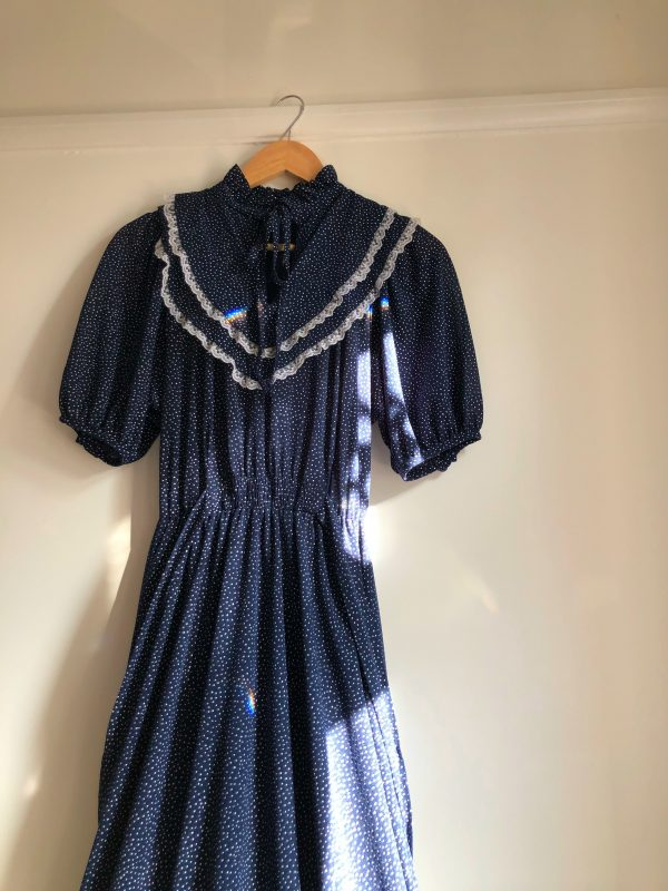 970s Navy and White Polka Dot Maxi Dress With Lace Trim