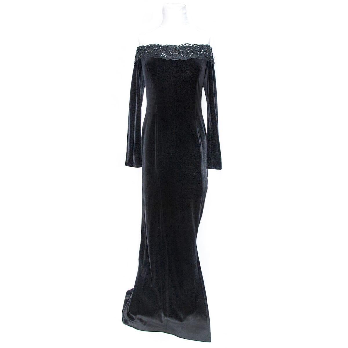 270d8e22bfd4d Consortium 1980s Black Evening Gown
