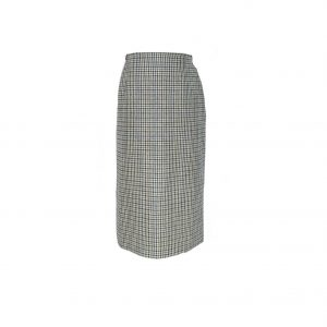Daks 1970s Blue and Grey Checked Skirt
