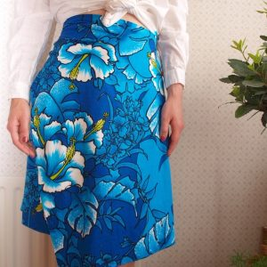 1960s Blue Flower Print Hawaiian Style Wrap Skirt