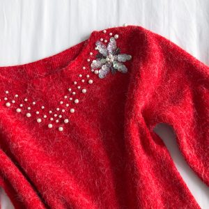 1980s Red Beaded Sweater