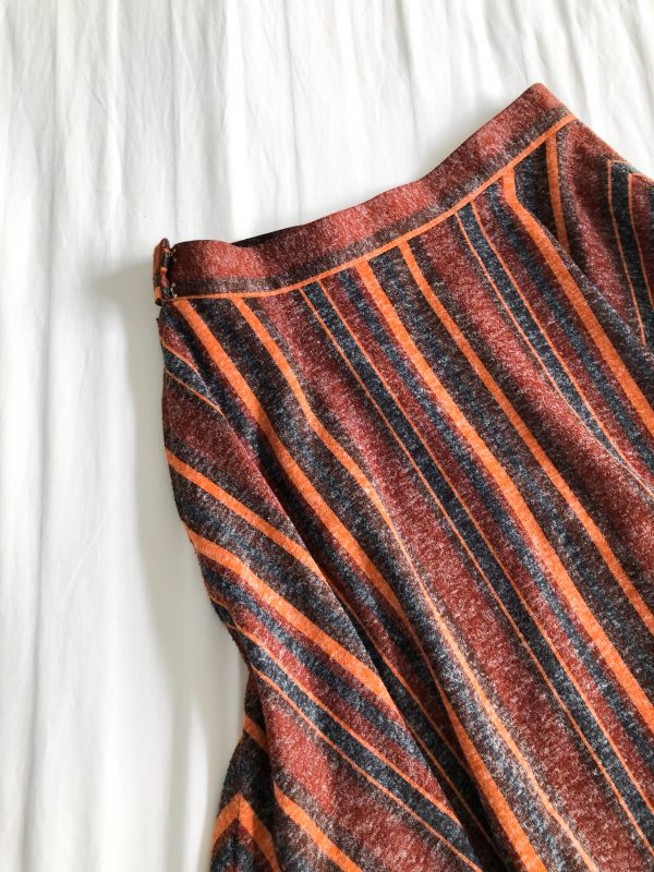 1970s Orange Striped Midi Skirt