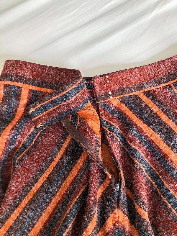 1970s Orange Striped Midi Skirt