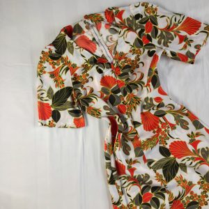 1970s Orange Leaf Printed Maxi Dress 1