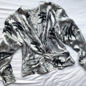 1980s Silver Patterned Blouse