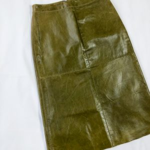 1980s Olive Green Leather Skirt
